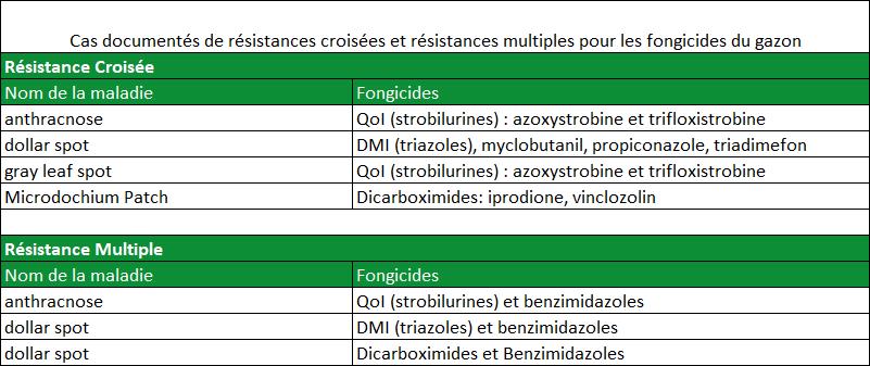 Cas documentés de résistances croisées et multiples pour les fongicides du gazon