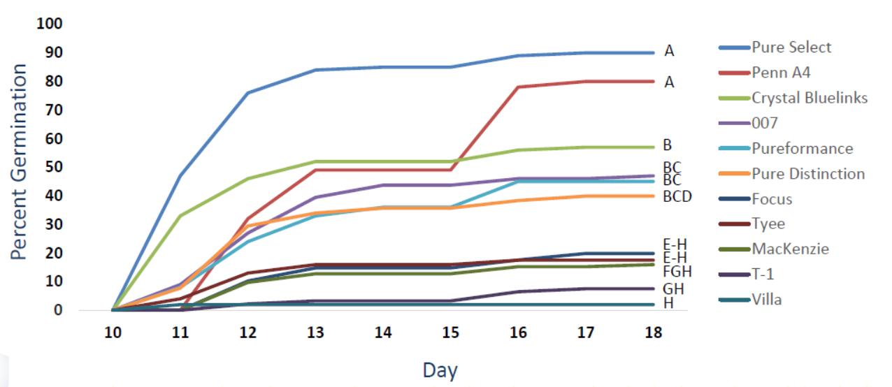 Taux de germination de différents cultivars à 10°C en fonction du temps (jours)
