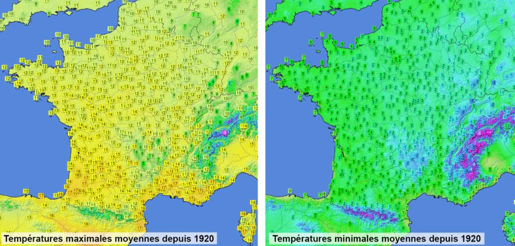 Moyenne des températures maximales et minimales depuis 1920 sur le territoire français