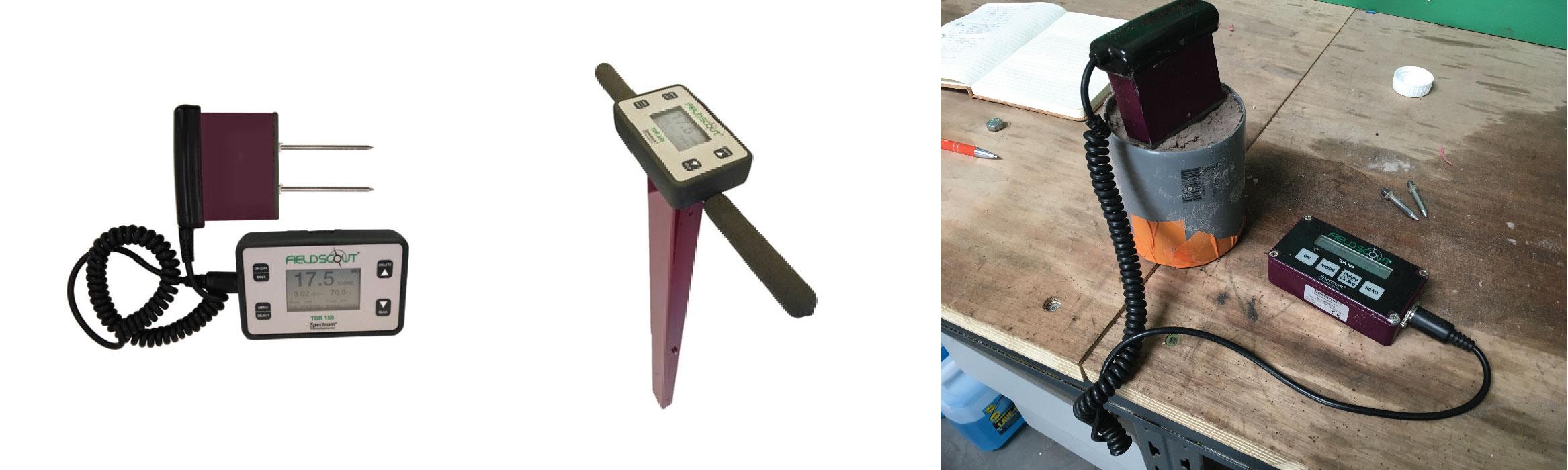 De gauche à droite : sonde TDR150, sonde TDR350 et la première version : la TDR100 utilisée par mes soins lors d'une calibration spécifique à un type de sol